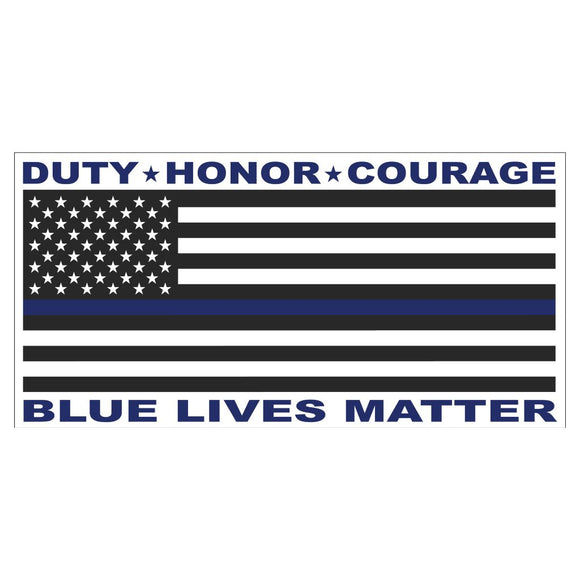 Duty Honor Courage Blue Lives Matter Sticker