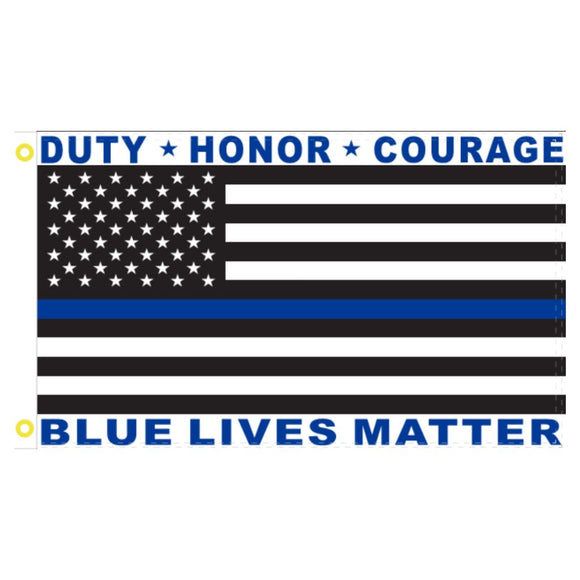 Thin Blue Line Duty Honor Courage 3'x5' 100D Rough Tex® Flag