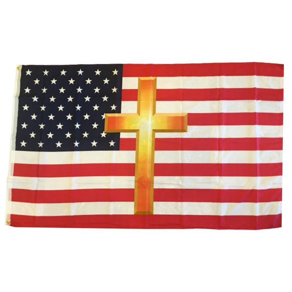 American Flag and Gold Cross 100D ROUGH TEX ® Flag