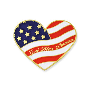 God Bless America Heart-Shaped Gold Plated Flag Pin