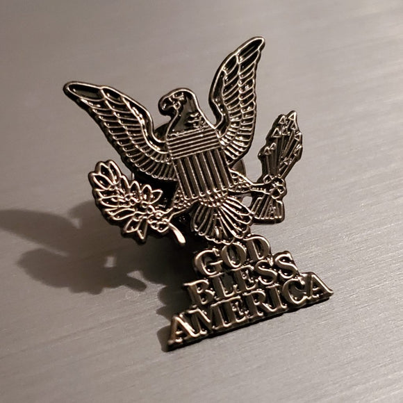 God Bless America Lapel Pin (Antique Silver Plated)