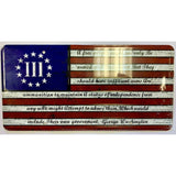 III Percenter Washington Arms Betsy Ross Flag License Plate