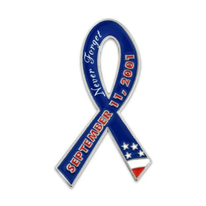 Never Forget 9-11 Ribbon Silver Plated Lapel Pin