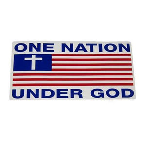 One Nation Under God American Flag and Cross Weatherproof Sticker