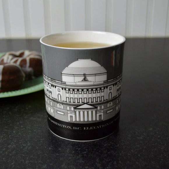 Capitol Building 18th Century Architectural Rendering Bone China Mug (2 Colors)