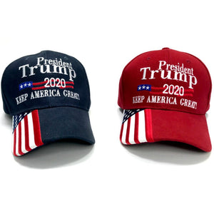 Premium President Trump 2020 KAG Embroidered 1/4 Flag Bill Hat