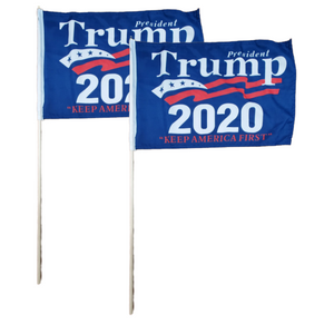 "President Trump Keep America First 12x18"" Stick Flag (2 Pack)"