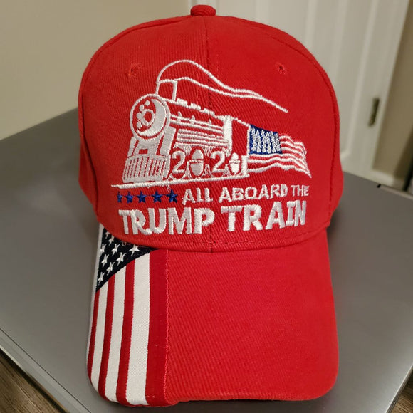 Premium All Aboard the Trump Train Custom Embroidered Hat (red)