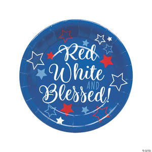 "Red White & Blessed Paper 9"" Dinner Plates (8-pack)"