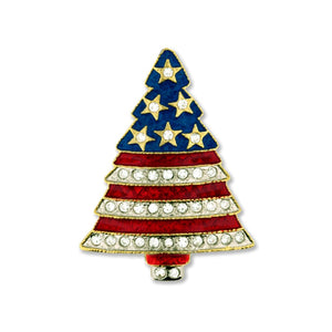 Rhinestone Patriotic Christmas Tree Pin