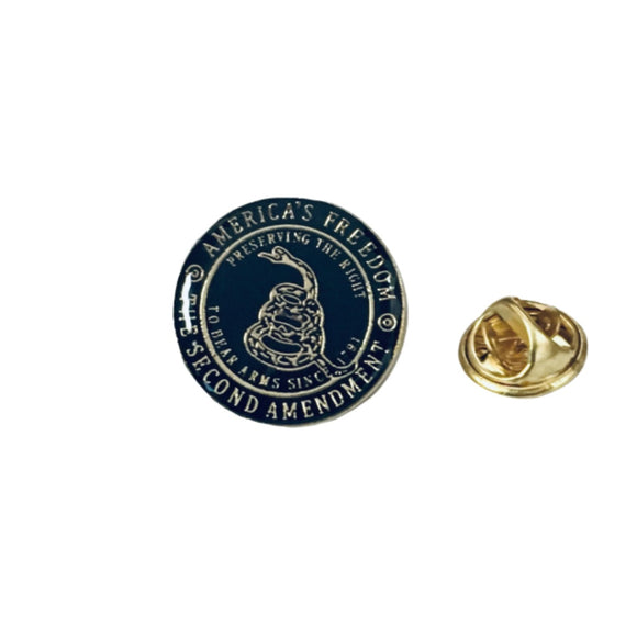 Second Amendment Gadsden Enamel Pin