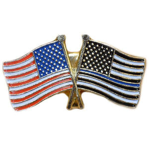 American and Thin Blue Line Flags Lapel Pin