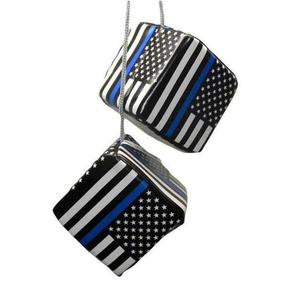 Police Thin Blue Line Hanging Car Mirror Dice