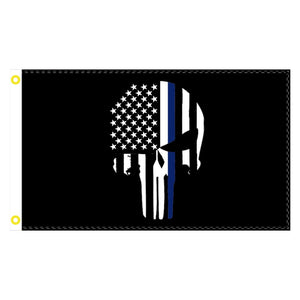Thin Blue Line Skull 3'x5' 100D Rough Tex® Flag