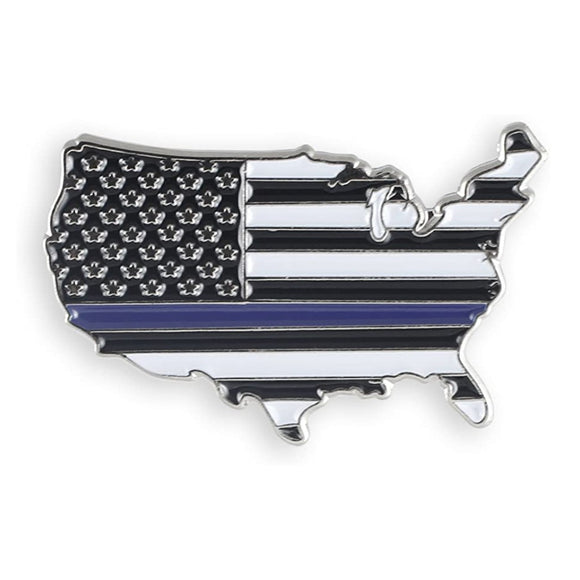 Thin Blue Line USA Lapel Pin (Nickel Plated)