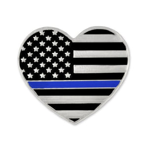 Thin Blue Line Heart Lapel Pin