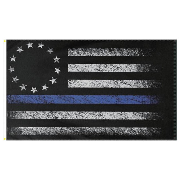 Thin Blue Line Betsy Ross Distressed 3'x5' 100D Rough Tex® Flag