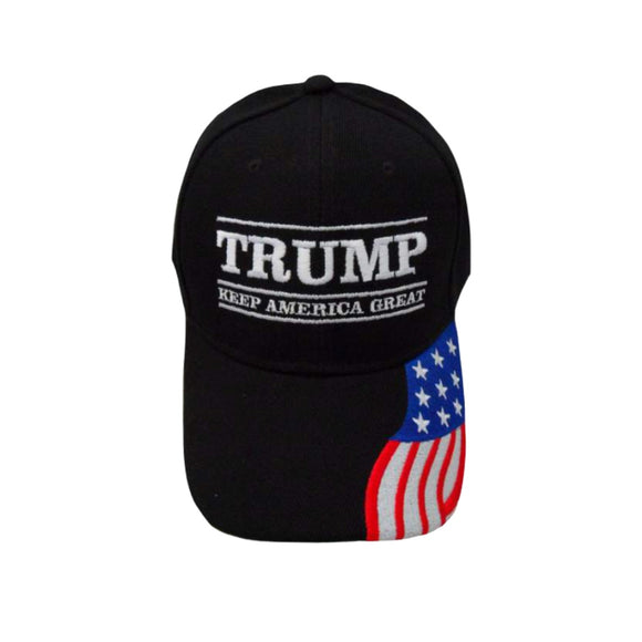 Trump Keep America Great Hat with 1/4 Flag Embroidered Bill