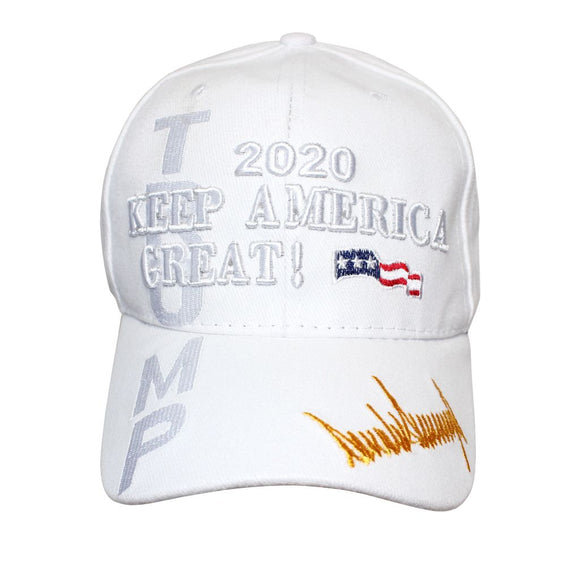 Trump 2020 Keep America Great Signature Shadow Hat (Custom Embroidered) White