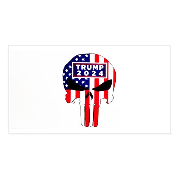 Trump 2024 Patriotic Skull Weatherproof Bumper Sticker
