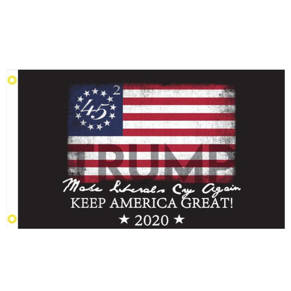 45 Betsy Ross Trump 2020 Make Liberals Cry Again 3'x5' 100D Rough Tex® Flag