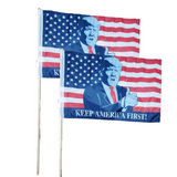 "Trump American Flag Keep America Great 12x18"" Stick Flag (2 Flag Pack)"