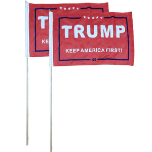 "Trump Keep America First 12x18"" Stick Flag (2 Pack)"