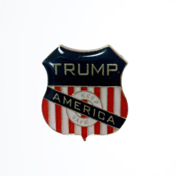 Trump Keep America Safe Shield Lapel Pin (Gold Plated)