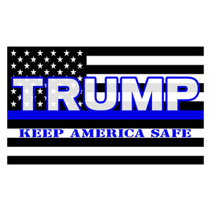 USA Trump Keep America Safe 3'x5' 100D Rough Tex® Flag (Black, White & Blue Line)