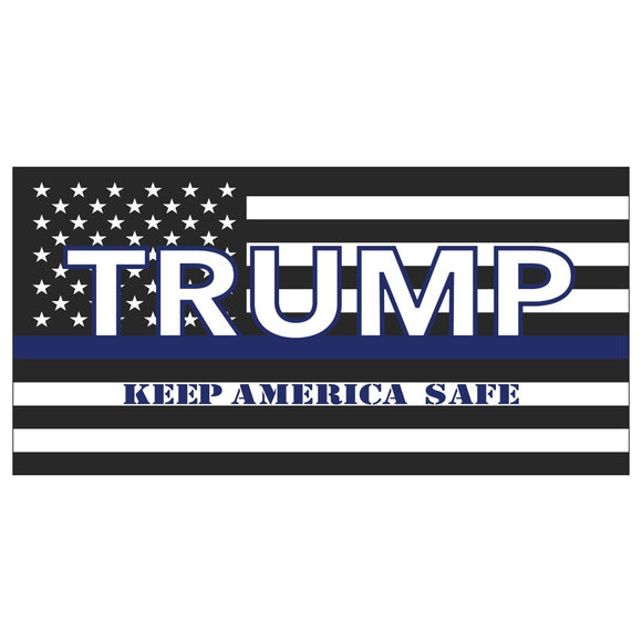 Trump Keep America Safe Thin Blue Line USA Flag Sticker