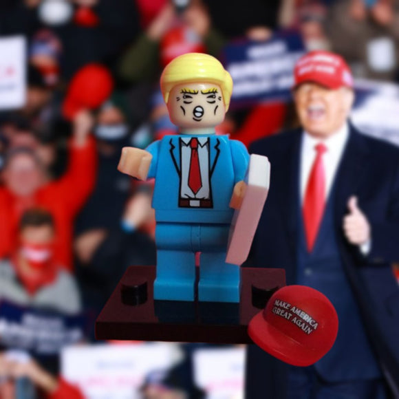 Limited Edition Trump Mini-figure with MAGA Hat (Blue Suit)