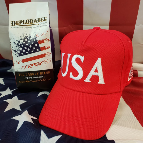 Deplorable Coffee Blend + USA 45 Trump Red 100% Cotton Hat Combo Deal