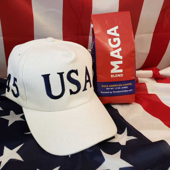 MAGA Coffee + USA 45 Trump White 100% Cotton Hat Combo Deal