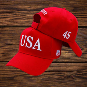 USA Trump 45  Red 100% Cotton Twill Hat