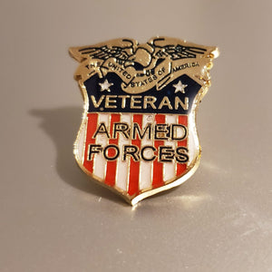 Patriotic Veteran Armed Forces Shield Enamel Pin