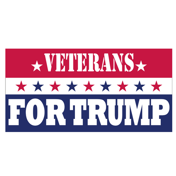 Veterans for Trump 9 Star Patriotic Weatherproof Bumper Sticker