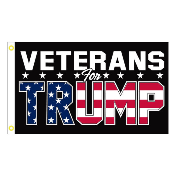 Veterans for Trump Patriotic Design 3'x5'100D Rough Tex® Flag (Double-Sided)