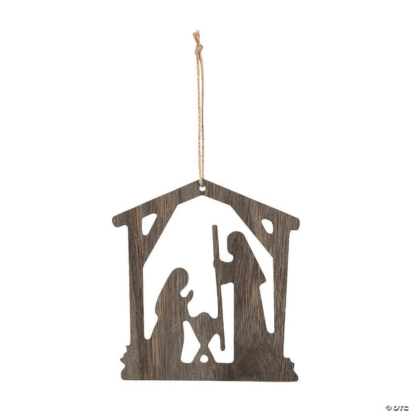 Rustic Wood Nativity Ornament