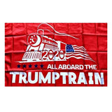 All Aboard The Trump Train: 3'x5' Flag + 3 Bumper Stickers - Flag and Cross