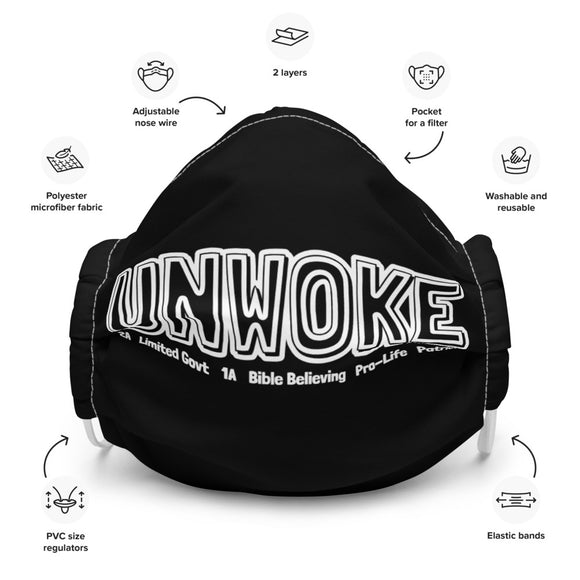 Unwoke: 2A Limited Govt 1A Bible Believing Patriot Premium Mask