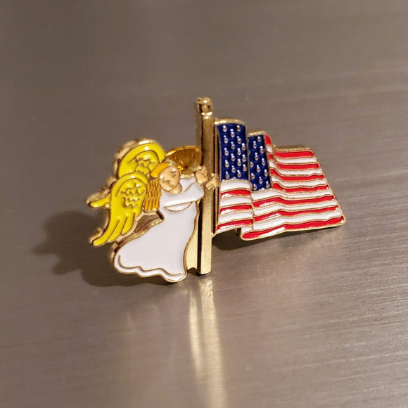 Patriotic Angel American Flag Gold Plated Lapel Pin