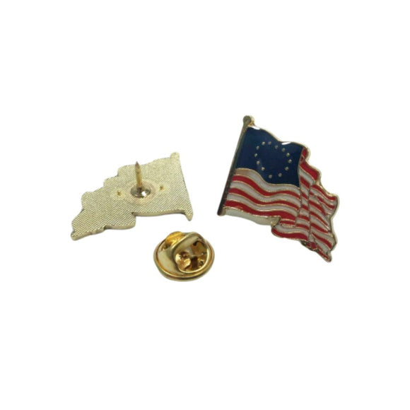 Betsy Ross American Waving Flag Cloisonne Lapel Pin - Flag and Cross