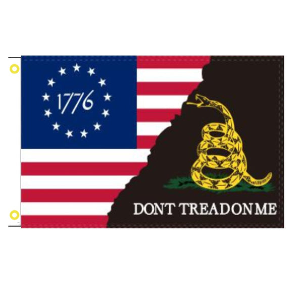 1776 Betsy Ross Gadsden Black 3'x'5' 100D Rough Tex® Flag