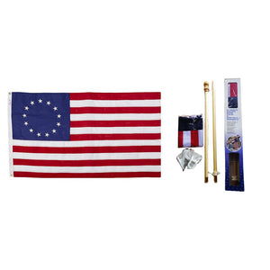 Betsy Ross Flag 150D Rough Tex® Flag w/ Wood Pole Kit