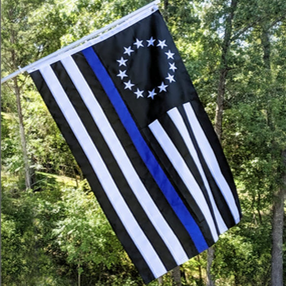 Betsy Ross Thin Blue Line Embroidered 3'X5' 150D Rough Tex® Flag