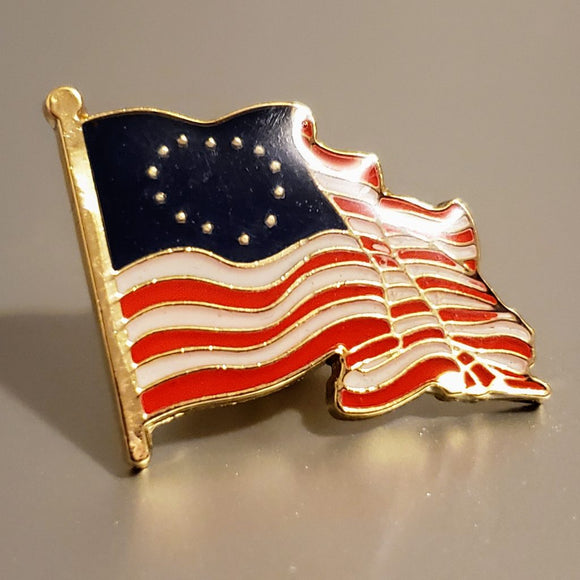 Betsy Ross American Waving Flag Cloisonne Lapel Pin