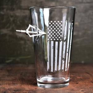 American Flag Broadhead Pint Glass (Made in the USA)
