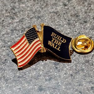American Flag - Build the Wall Flag Enamel Pin (Collectors Edition)