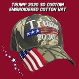 Camo Trump 2020 Custom Embroidered Hat with American Flag Bill - Flag and Cross