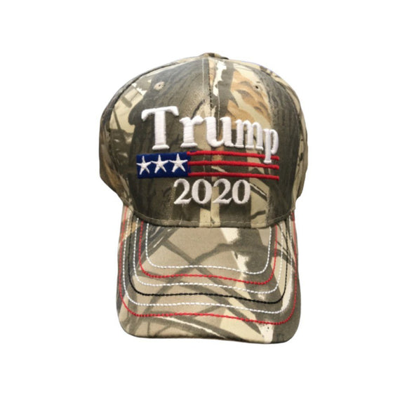 Camo Trump 2020 Custom Embroidered Hat with Stitching on bill - Flag and Cross